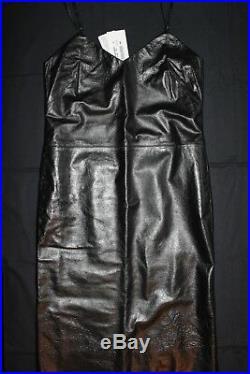 Maison Martin Margiela NEW Rare Vintage Archive Black Leather Slip Dress 42 IT