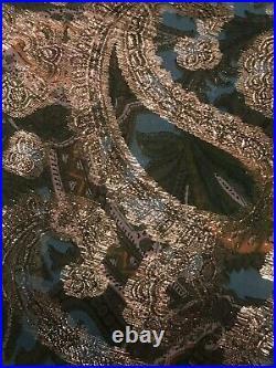 Malcolm Starr Sz Sm Metallic Lame' Silk Green/gold/aqua Braid Trim Lined W Slip