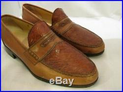 Mauri Vintage Brown Leather/alligator Men's Slip On Dress Shoes 9