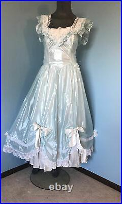 McClintock GUNNE SAX Sheer Shiny Satin BLUE Wedding Dress Slip Maiden Peasant