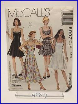 Mccall's Misses Slip Dress Pattern 5997 Size A (6,8,10) Uncut 1992 Vtg