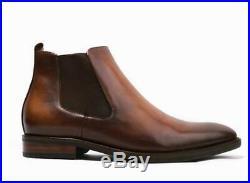 Men Dress Formal Genuine Cow Leather Chelsea Boots Shoes Slip on Vintage British
