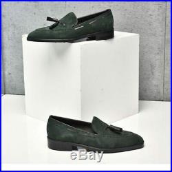Men's Green Full Suede Tassels Loafer Slip Ons Vintage Leather Handcrafted Shoes