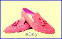 Men's Pink Tassel Loafer Slip On Derby Toe Suede Vintage Leather Handmade Shoes