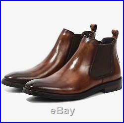 Mens Ankle Chelsea Boot Vintage Slip On Pointy Toe Leather Dress Office Shoes Sz