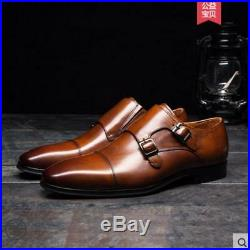 Mens Business Shoes PU Leather Slip On Buckle Vintage Pointed Toe Shoes Sz Ths01