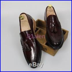 Mens Tassel Slip On Loafers Leather Flat Dress Vintage British Style Shoes Flats