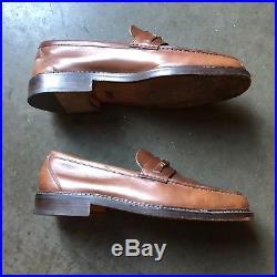 Mens Vintage Gucci Jordaan Light Brown Leather Slip On Loafer Dress Shoes Sz 8.5