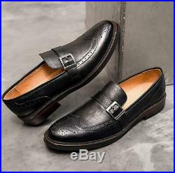 Mens Vintage Slip On Round Toe Leather Business Dress Work Carved Office Shoes