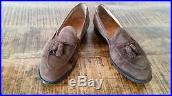 Mens Vtg Brown Suede ALDEN 666 Tassel Moccasin Slip-On Loafers Dress Shoes 10.5D