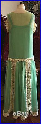 Mint Julep Vintage 1920s two piece dress gown lace and silk chemise slip dress