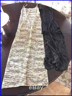 Missoni Rare Vintage 80s Brown Label Nude And Black Maxidress With Slip Size 42