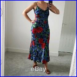 Monsoon Vtg 90s Y2K Devore Silk Slip Blue Red Rose Bias Cut Cowl Maxi Dress 12