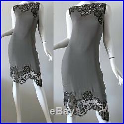 Moschino Couture Dress Metallic Silver Silk Lace Slip Party Dress Italian 44