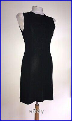Moschino GB 8 Black Olive Oil Embroidered 1990's Vintage Knit Rayon Slip Dress