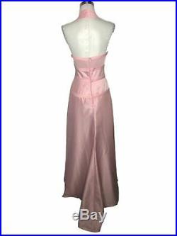 N292 TADASHI Vintage Designer Dress Size 6 Small Pink Satin Solid Slip Maxi