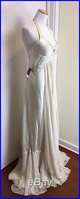 NEW BHLDN Vintage Ivory Silk Slip Bridal 90's Wedding Gown Dress Returns Ok