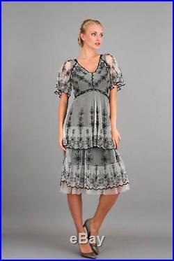 NEW NWT Nataya Plus Size Vintage Titanic Black & Ivory Tea Dress & Slip Set 1X