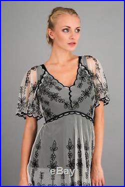 NEW NWT Nataya Plus Size Vintage Titanic Black & Ivory Tea Dress & Slip Set 1X