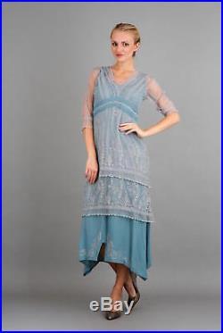 NEW NWT Nataya Plus Size Vintage Titanic Sun Rise Blue Lace Dress Slip Set 3X