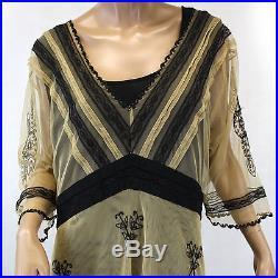 NEW NWT Nataya Plus Size Vintage Titanic Tea Party Black & Tan Dress Slip Set 1X