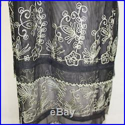 NEW NWT Nataya Plus Size Vintage Titanic Tea Party Gown Black Dress Slip Set 3X
