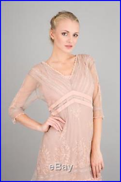 NEW NWT Nataya Plus Size Vintage Titanic Tea Party Quartz Pink Dress Slip Set 2X
