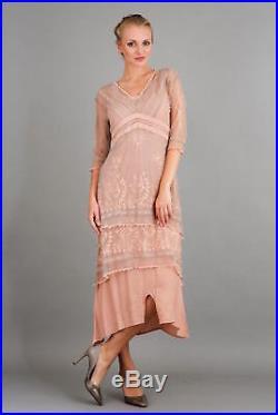 NEW NWT Nataya Plus Size Vintage Titanic Tea Party Quartz Pink Dress Slip Set 3X