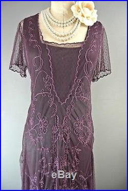 NEW Nataya L Vintage Titanic Eggplant Lace Tea Dress & Slip Set Formal Gatsby
