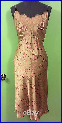 New Vintage Betsey Johnson Silk Cream Floral Print Cocktail Party Slip Dress 6