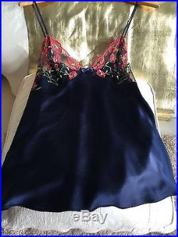 NEW VINTAGE EDA Gorgeous 100% Silk Satin Slip Top embroidered lace nighty UK12 M