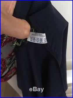 NEW VINTAGE EDA Gorgeous 100% Silk Satin Slip Top embroidered lace nighty UK12 M