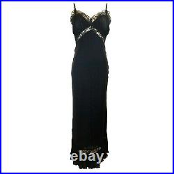 NEXT BLACK VINTAGE 20's-LOOK PLEATED BIAS-CUT SLIP-STYLE LONG EVENING DRESS S 4