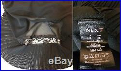NEXT BLACK VINTAGE 20's-LOOK PLEATED BIAS-CUT SLIP-STYLE LONG EVENING DRESS S 4