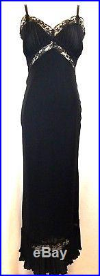NEXT Black 20s Vtg-Look Pleated Bias-Cut Slip-Style Long Dress Eve Gown S 4