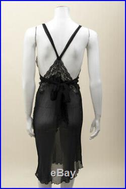 NINA RICCI VTG Black VE Sheer Lace V-neck Racer Back Ruffle Tank Slip Dress 10