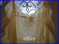 NOS 50s Frilly Movie Star sz 48 Beige Nylon Lace Crystal Pleat Slip Dress UNWORN