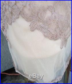 NOS VTG Taupe Champagne Double Layer Nylon Chiffon LACE Full Slip Dress 34A Zips