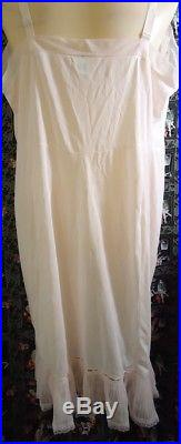 NOS Vtg 50s Pink Movie Star Crystal Pleated Wedding Slip Dress Shadow Panel 48
