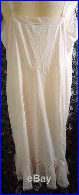 NOS Vtg 50s Pink Movie Star Crystal Pleated Wedding Slip Dress Shadow Panel 48