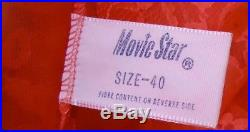 NOS Vtg 60s Movie Star Pinup Bright Red Nylon Elaborate Wide Lace Slip Dress 40