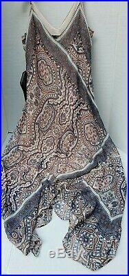 NWT BCBG MaxAzria CHLOEY Brocade Vintage Slip Dresss Paisley Almond Pink Mul XS
