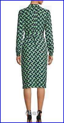 NWT Diane von Furstenberg Wrap Dress with Slip in Vintage Weave Vetiver 12 $398