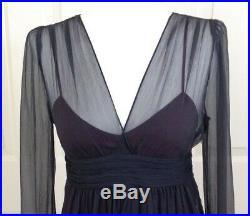 NWT FENDI Silk Chiffon Dress with Empire Waist & Silk Slip IT42 Vintage