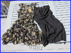 NWT RRL S dress Ralph Lauren crinkled silk slip black floral vintage look $695