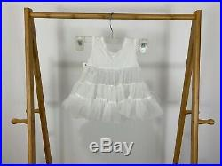 NWT VTG Sheer Full Circle Slip Dress Lace Ruffles Pageant Party 18 Months USA
