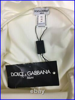 NWT Vintage 1990's Dolce & Gabbana Ivory Pearl Chain Strap Slip Dress