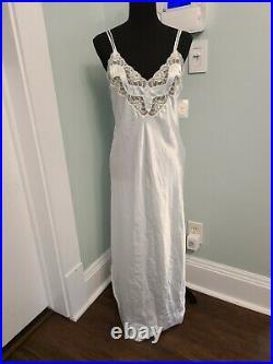 NWT Vintage Christian Dior pale blue Satin nightgown Sz Small slip dress USA