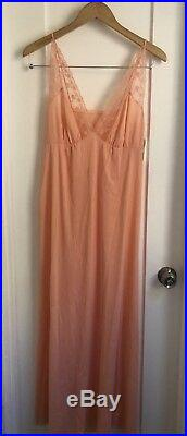 NWT Vintage Vanity Fair ANTRON peach Pastel Nylon Lace Maxi Dress 36 Lingerie