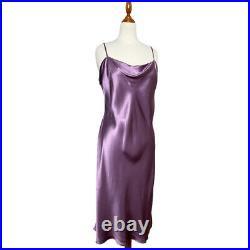 NWT Vintage Victorias Secret 100% Silk Midi Slip Dress Purple Size XL Slit 90s